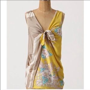 Deletta Yellow Silk Tank